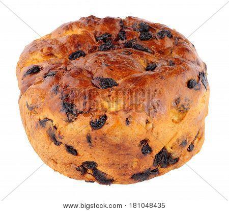 Traditional Irish Barmbrack sweet fruit bread loaf isolated on a white background