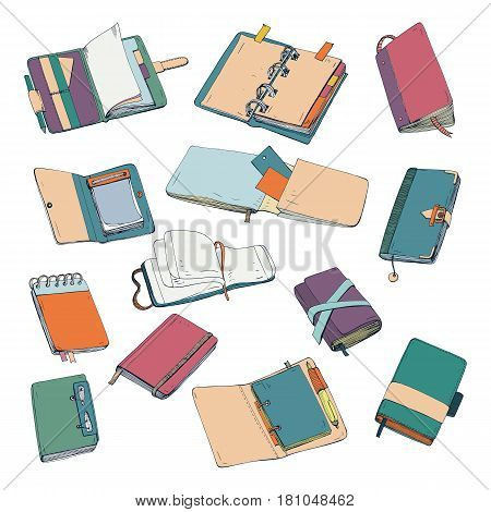 Notebook, notepad, planner, organizer, sketchbook hand drawn set Collection of colorful illustrations