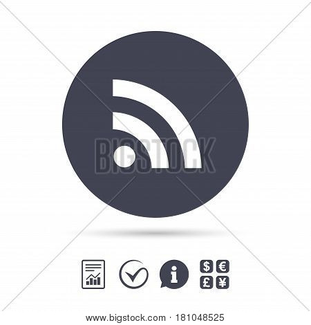 RSS sign icon. RSS feed symbol. Report document, information and check tick icons. Currency exchange. Vector