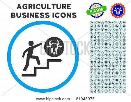 Person Climbing To Cow rounded icon with agriculture business icon clip art. Vector illustration style is a flat iconic symbol inside a circle, blue and gray colors.