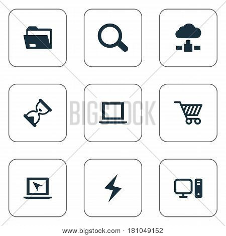 Vector Illustration Set Of Simple Notebook Icons. Elements Dossier, Web Trading, Magnifier And Other Synonyms Shopping, Cart And Magnifier.