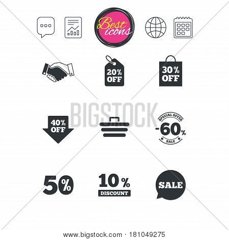 Chat speech bubble, report and calendar signs. Sale discounts icon. Shopping, handshake and cart signs. 10, 50 and 60 percent off. Special offer symbols. Classic simple flat web icons. Vector