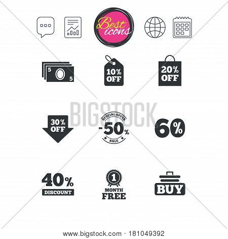 Chat speech bubble, report and calendar signs. Sale discounts icon. Shopping cart, buying and cash money signs. 40, 50 and 60 percent off. Special offer symbols. Classic simple flat web icons. Vector
