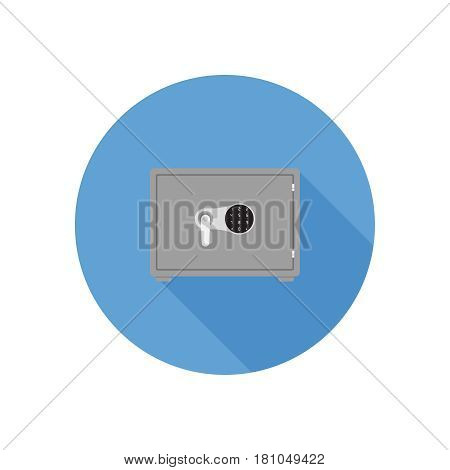 Safe on background vector concept. Security illustration in modern flat style. Color picture for design web site, web banner, printed material. Safe flat icon.