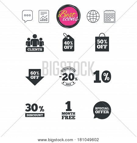Chat speech bubble, report and calendar signs. Sale discounts icon. Shopping, clients and speech bubble signs. 20, 30, 40 and 50 percent off. Special offer symbols. Classic simple flat web icons