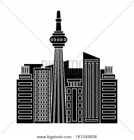 Canadian skyscraper. Canada single icon in black style vector symbol stock illustration .