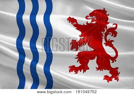 Flag of Nouvelle-Aquitaine is the largest administrative region in France located in the southwest of the country. 3d illustration