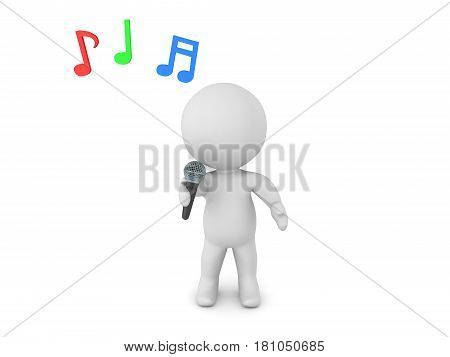 3D Character singing karaoke into a mic. Musical notes are floating above his head.