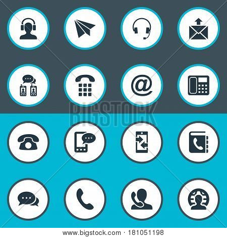 Vector Illustration Set Of Simple Communication Icons. Elements Telephone, Earpiece, Telephone Directory And Other Synonyms Mailing, Earphone And Phone.