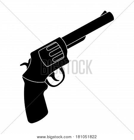 Pocket revolver. The weapons detective, for protection from robbers.Detective single icon in blake style vector symbol stock web illustration.