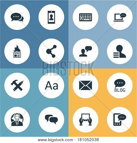 Vector Illustration Set Of Simple Blogging Icons. Elements Man Considering, Notepad, Share And Other Synonyms Profile, Notepad And Considering.