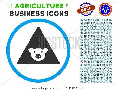 Pig Error rounded icon with agriculture commercial glyph package. Vector illustration style is a flat iconic symbol inside a circle, blue and gray colors. Designed for web and software interfaces.