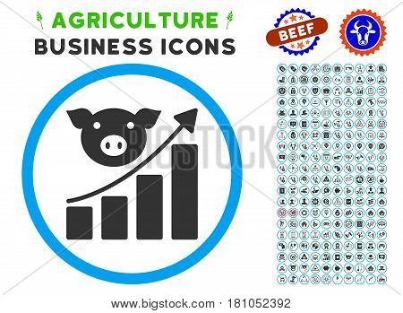 Pig Growing Chart rounded icon with agriculture business glyph clipart. Vector illustration style is a flat iconic symbol inside a circle, blue and gray colors.