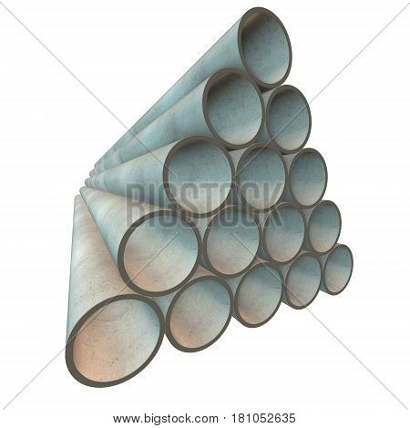 Stack of plastic pipes. 3d render isolated on white