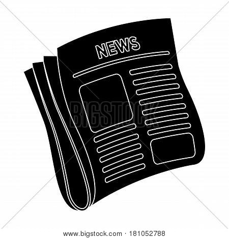Newspaper, news.Paper, for the cover of a detective who is investigating the case.Detective single icon in blake style vector symbol stock web illustration.