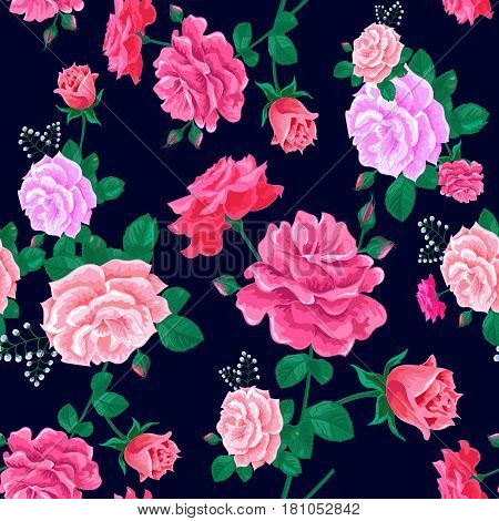 Magnificent bouquet.Beautiful seamless pattern with pink roses on a dark blue background.Summer Vector illustration in the retro style.Print for book cover, textile, fabric, wrapping paper, scrapbooking.