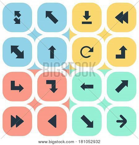 Vector Illustration Set Of Simple Cursor Icons. Elements Advanced, Indicator, Down Right And Other Synonyms Rearward, Direction And Backward.