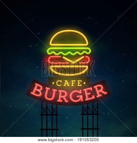 Burger road sing. City sign neon. Logo, emblem. Burger neon sign, bright signboard, light banner.