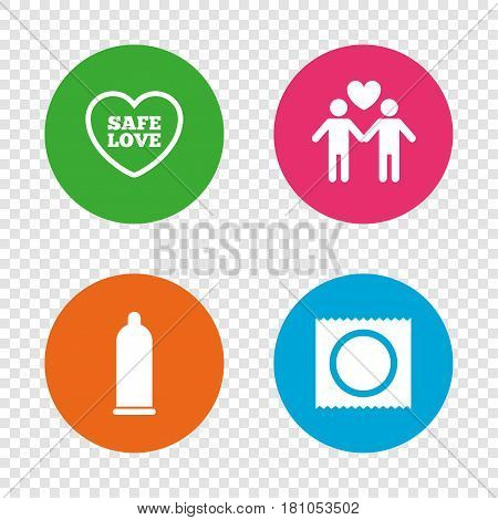 Condom safe sex icons. Lovers Gay couple signs. Male love male. Heart symbol. Round buttons on transparent background. Vector