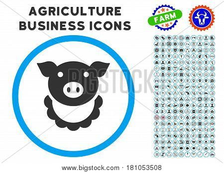 Pig Reward rounded icon with agriculture business icon collection. Vector illustration style is a flat iconic symbol inside a circle, blue and gray colors. Designed for web and software interfaces.