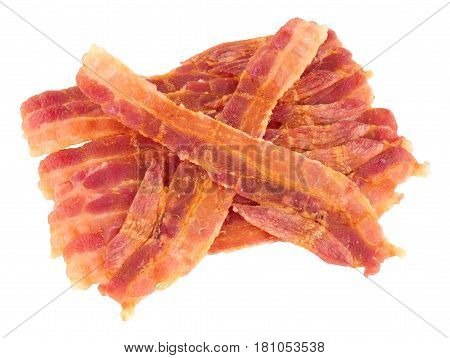Group of fried crispy bacon rashers isolated on a white background