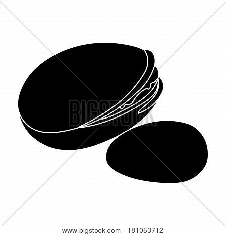 Green pistachio in the shell.Different kinds of nuts single icon in black style vector symbol stock web illustration.