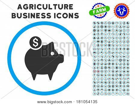 Piggy Bank rounded icon with agriculture business icon collection. Vector illustration style is a flat iconic symbol inside a circle, blue and gray colors. Designed for web and software interfaces.