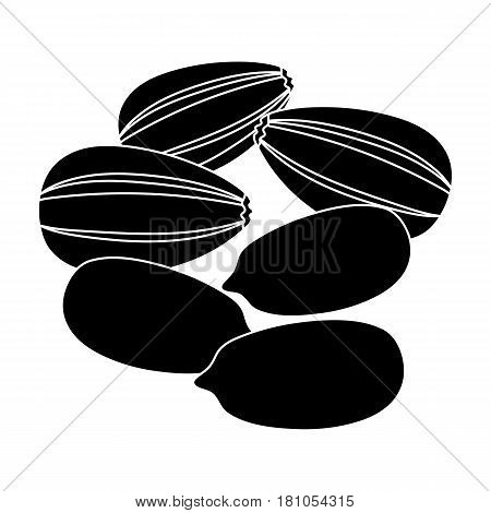Sunflower seeds.Different kinds of nuts single icon in black style vector symbol stock web illustration.