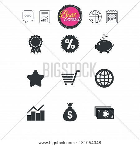 Chat speech bubble, report and calendar signs. Online shopping, e-commerce and business icons. Piggy bank, award and star signs. Cash money, discount and statistics symbols. Vector