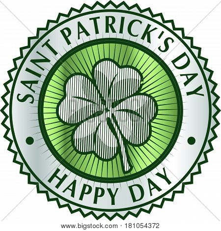 Happy Saint Patrick's day clover greeting card element. Green clover leaf in circle with inscriptions. Logo badge template vector Illustration.