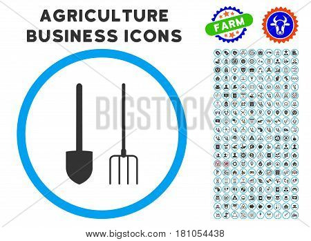 Pitchfork And Shovel Tools rounded icon with agriculture commercial glyph pack. Vector illustration style is a flat iconic symbol inside a circle, blue and gray colors.