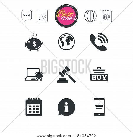 Chat speech bubble, report and calendar signs. Online shopping, e-commerce and business icons. Auction, phone call and information signs. Piggy bank, calendar and smartphone symbols. Vector
