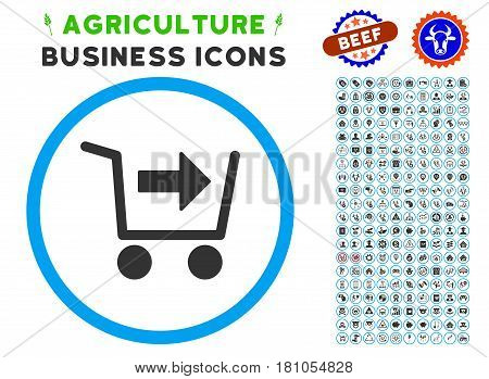 Purchase Cart rounded icon with agriculture commercial glyph package. Vector illustration style is a flat iconic symbol inside a circle, blue and gray colors. Designed for web and software interfaces.
