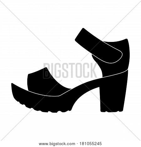 Women summer white sandals on a bare foot.Different shoes single icon in black style vector symbol stock web illustration.