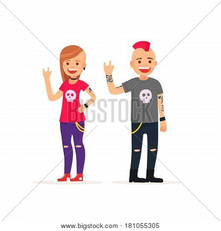 Cute man and girl rockers, panks. Vector illustration in cartoon style
