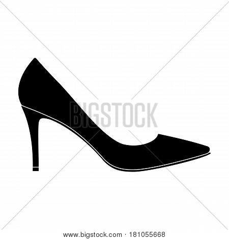Black womens highheeled shoes exit in a dress.Different shoes single icon in black style vector symbol stock web illustration.