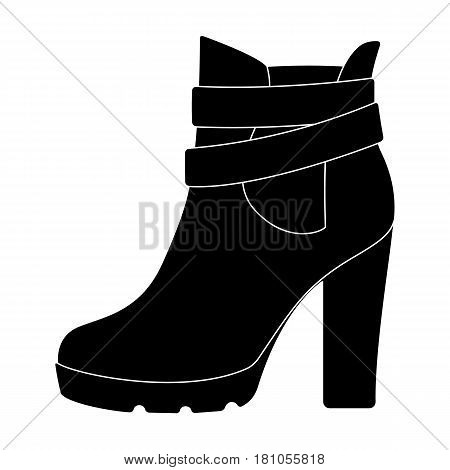 High women red shoes for everyday wear .Different shoes single icon in black style vector symbol stock web illustration.