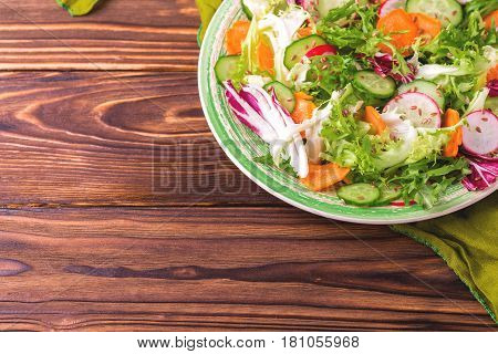 Fresh Salad With Salad Mix, Cucumber, Radish And Carrot