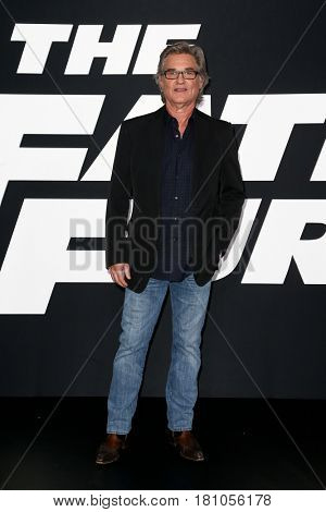 "NEW YORK-APR 8: Actor Kurt Russell attends the premiere of ""The Fate of the Furious"" at Radio City Music Hall on  April 8, 2017 in New York City."