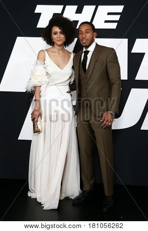 NEW YORK-APR 8: Actress Nathalie Emmanuel (L) and Christopher 'Ludacris' Bridges attend the premiere of