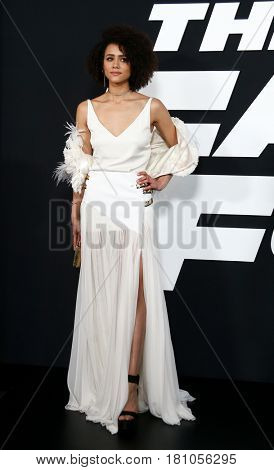 "NEW YORK-APR 8: Actress Nathalie Emmanuel attends the premiere of ""The Fate of the Furious"" at Radio City Music Hall on  April 8, 2017 in New York City."