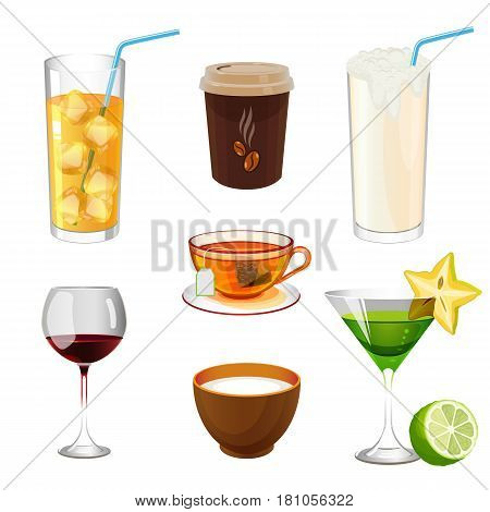 Soda with ice in glass with straw, take away coffee, fresh organic ayran, wineglass with wine, bowl with milk, cocktail with carambole and lime, cup of tea on saucer vector illustration on white