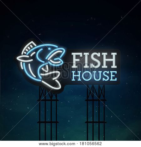 Fish house road sing. City sign neon. Logo, emblem. Fish neon sign, bright signboard, light banner.