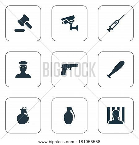 Vector Illustration Set Of Simple Police Icons. Elements Prison, Sheriff, Baseball Bat And Other Synonyms Punishment, Cell And Arrest.