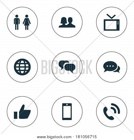 Vector Illustration Set Of Simple Transmission Icons. Elements Thumb, World, Talking And Other Synonyms Like, Call And Companion.