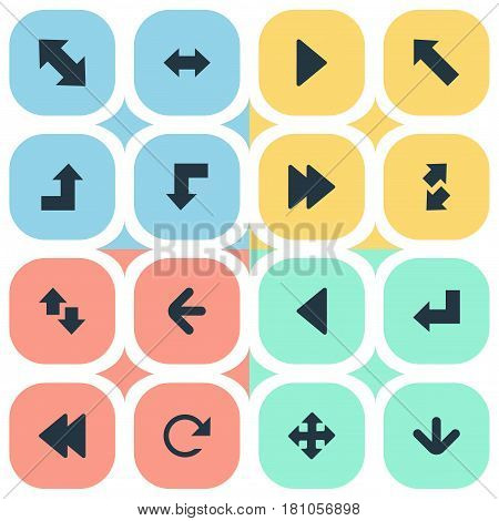 Vector Illustration Set Of Simple Indicator Icons. Elements Left Direction, Increasing, Reverse And Other Synonyms Direction, Refresh And Backward.