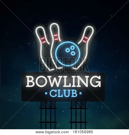 Bowling road sing. City sign neon. Logo, emblem. Bowling neon sign, bright signboard, light banner.