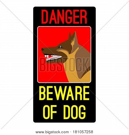 Danger beware of dog sign in black and red colors with shepherd dog vector illustration isolated on white background. Precaution sticker with toothed sheepdog profile