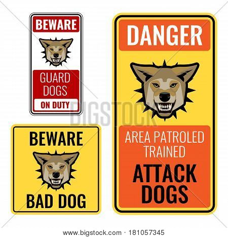Set of stickers with beware bad dog signs vector illustration on white background. Angry guard dogs on precaution posters. Area patrolled trained attack canine purebreds animals