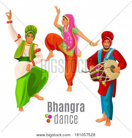 Bhangra dance concept two men and woman in national cloth dancing vector illustration. Folk dance of Majha, drummer and women in traditional dress long baggy legwear and colorful shirt